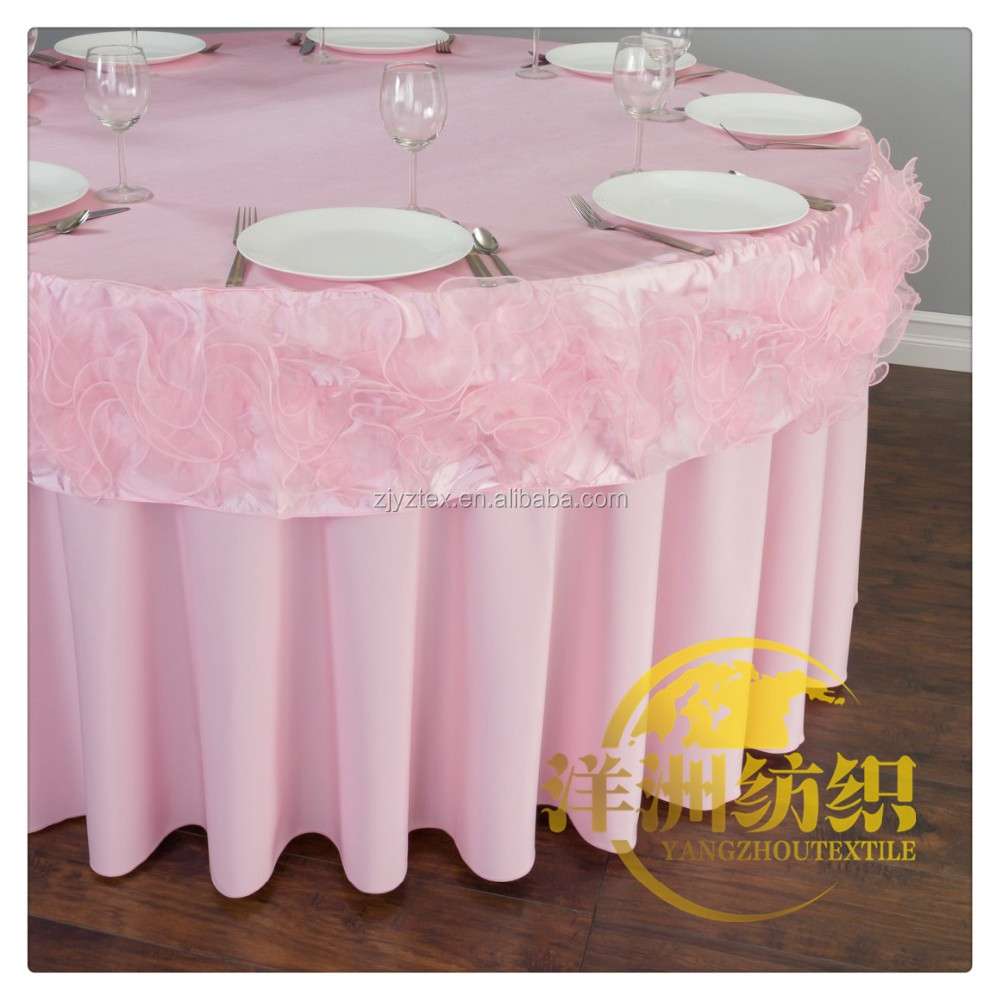 100% Polyester swirl organza table cloth polyester fancy table cover
