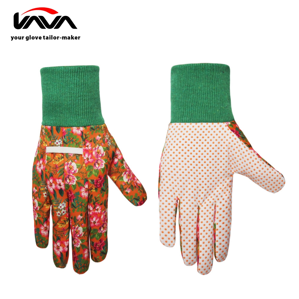 Durable Full Color Printing with PVC Dots Knitted Garden Gloves