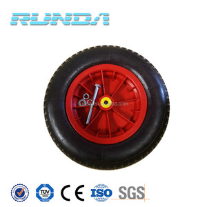 durable type Red color plastic rim wheelbarrow wheels with axle and bush bearing