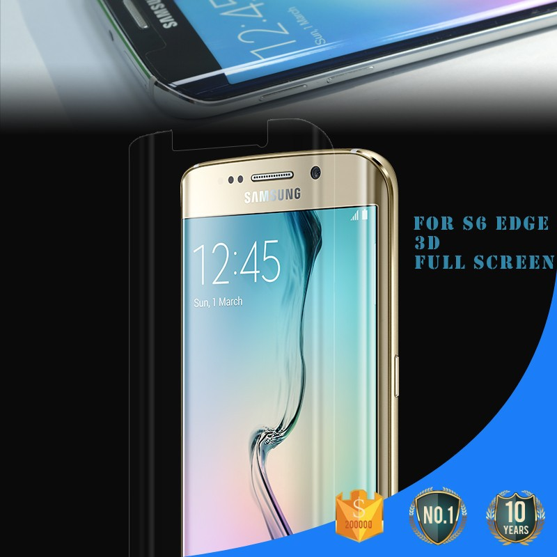 2015 Full Cover 3H hardness anti-fingerprint lcd monitor screen protector for S6 Edge / samsung galaxy s6 edge screen protector