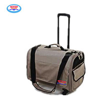 Hot selling cheap pet trolly bag/cage with wheels for travel from factory