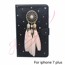 Aidocrystal pink dreamcatcher 2016 Mobile Accessories PU Leather Wallet Cell Phone Case for For iPhone 7/ 7 Plus Cases