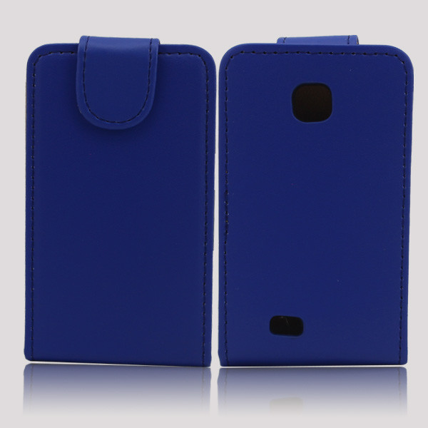 Leather flip back cover case for samsung galaxy mini s5570