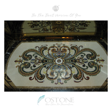 Square Flower Pattern Elevator Marble Flooring Design, Marble Waterjet Inlay Medallion
