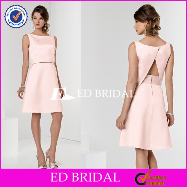 CE423 Hot Selling Sexy Two Piece Satin Short Peach Color Bridesmaid Dress