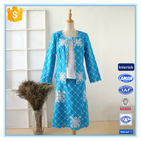 Embroidery Ladies Office Skirt Suit Church Women Suits Hot Sale