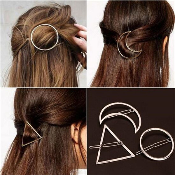 Newest Alloy Hairpins Lip/Triangle/Circle/Moon Hair Pin Jewelry Hairgrips Metal Hair Clip For Women