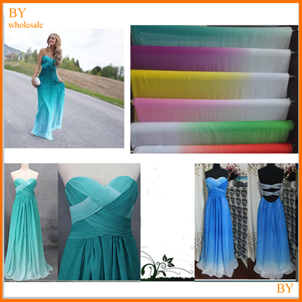 shade chiffon material 2 tone 100D ombre chiffon <strong>fabric</strong> for wedding dress