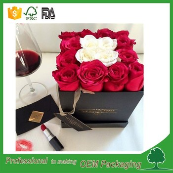 handmade square shape cardboard flower box packaging with ribbon customized shenzhen factory