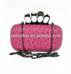 2014 New American European Hot Sell Fake Ostrich PU Leather Clutch Evening Bags With Crystal