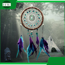 Promotional Christmas gift ornament Wall Hanging Home Room Decoration feather indian dream catcher supplies