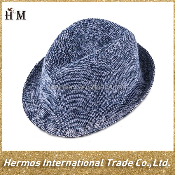 Wholesale winer warm cotton knit hat blue girls knitted fedora hat