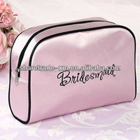 High Quality Pink Satin Modella Travelling Brand Cosmetic Bag With Printing
