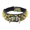 Sharp Spiked PU Leather Studded armygreen Dog Collar Durable Large Dogs Gifts dog pet collars