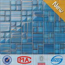 LJ JY-G-33 High Quality Golden Line Crystal Iridescent Blue Mosaic Glass Tile