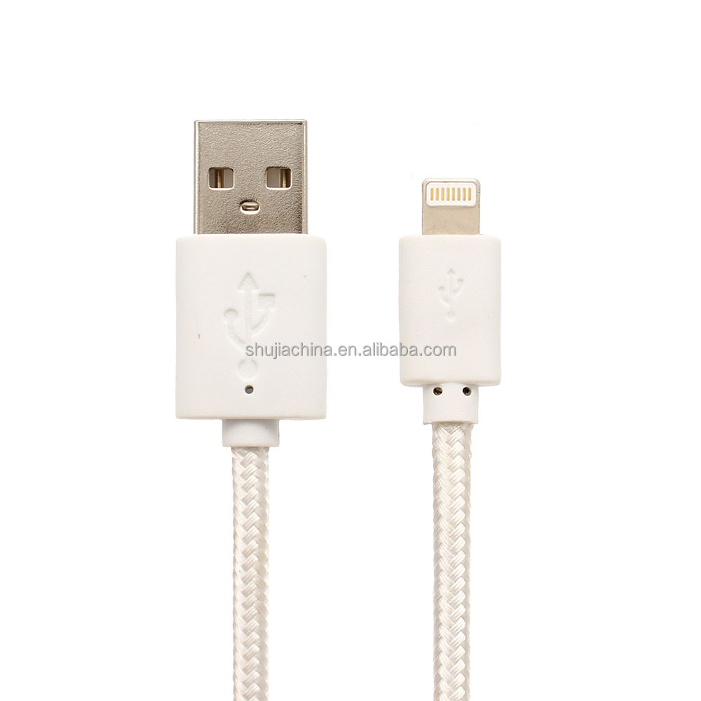 For mfi iphone chargers 5 6 7 8 mobile phone data cable PVC nylon braided round sync charging cable for Apple iPhone 6s