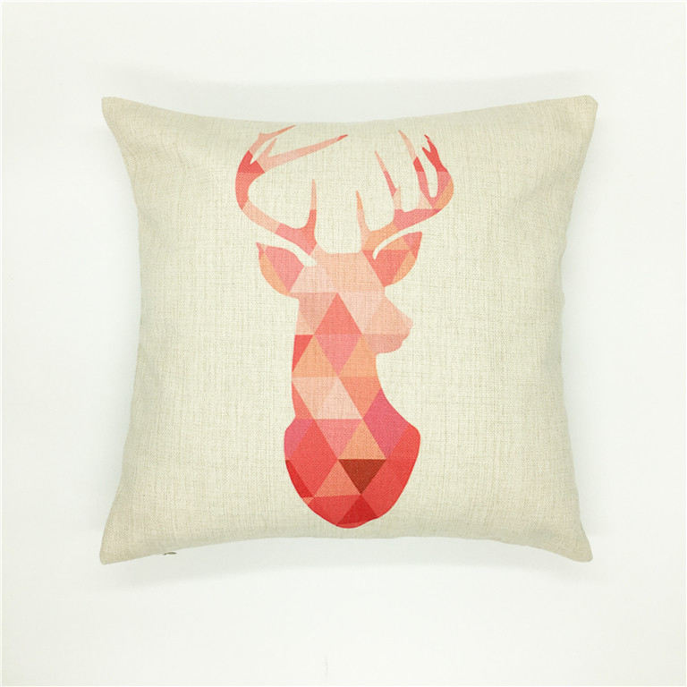 Sublimation printing on linen deer print cushion cover