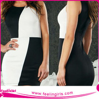 wholesale smock black and white bodycon dress