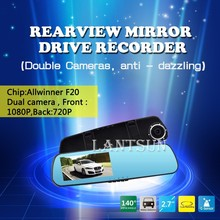 Motion Detection HD Auto Dvr Driving Recording Dual camera 140 degree front angle XC09V