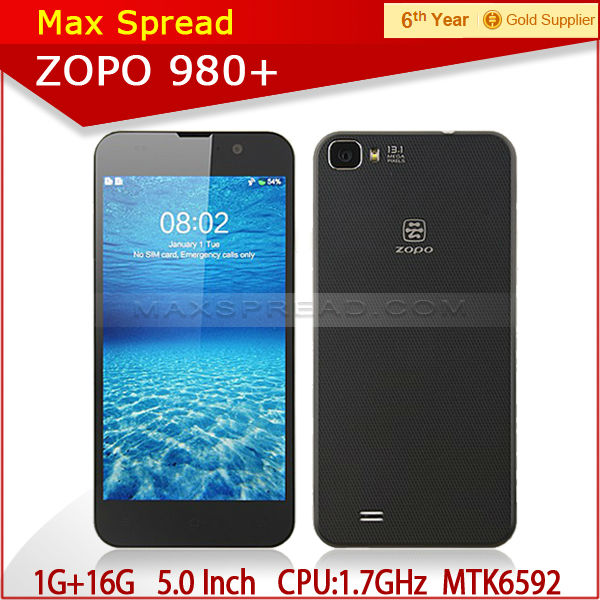 hot sale! original Zopo ZP980+ 1.7 GHz octa core cortex A7 CPU 1g ram16g rom MTK6592 5.0 inch FHD screen smart phone android