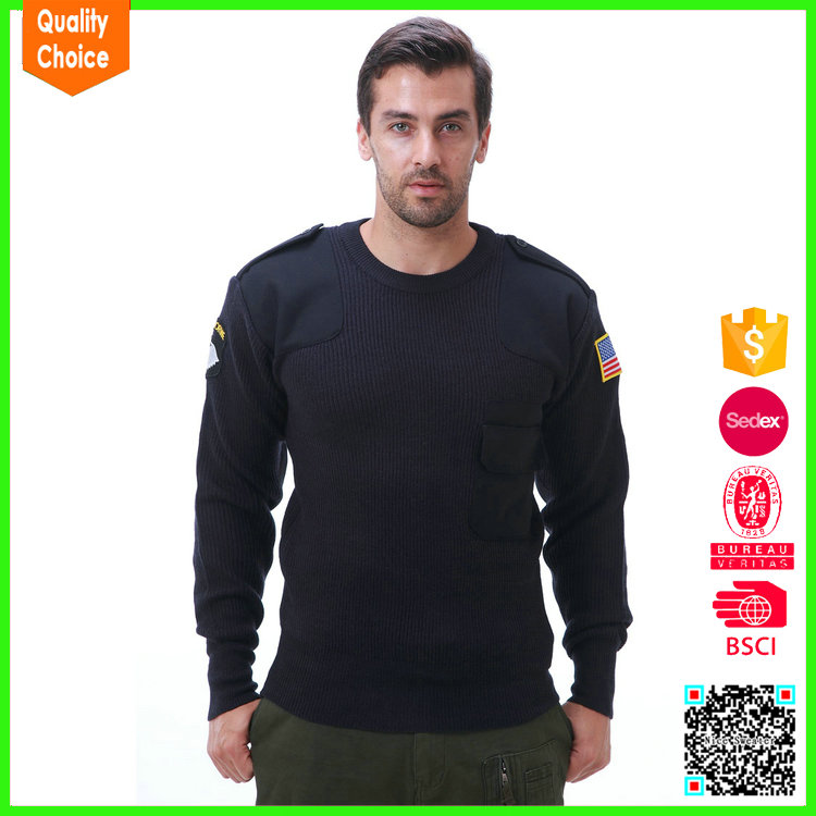 2017 wholesale knitted black army military uniform pullover sweater