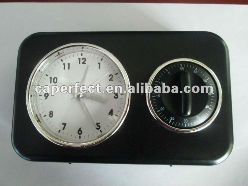 Table or wall quartz alarm clock with countdown timer