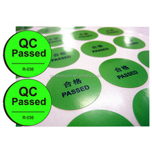 Paper material QC pass label sticker custom circle round decal