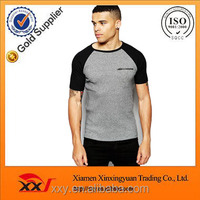 Men's 95 cotton /5 elastane t-shirt blank black sleeve raglan t shirt wholesale