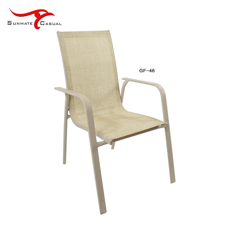 Stacking Aluminum Garden Terrace Furniture Patio Outdoor Seating Sling/Textilener Chair
