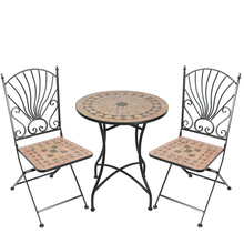 ceramic mosaic Bistro 3 Piece Set outdoor garden wrought iron bistro set table and chair