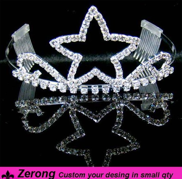 Wholesale hair jewelry accessory pageant star shape tiaras and crowns