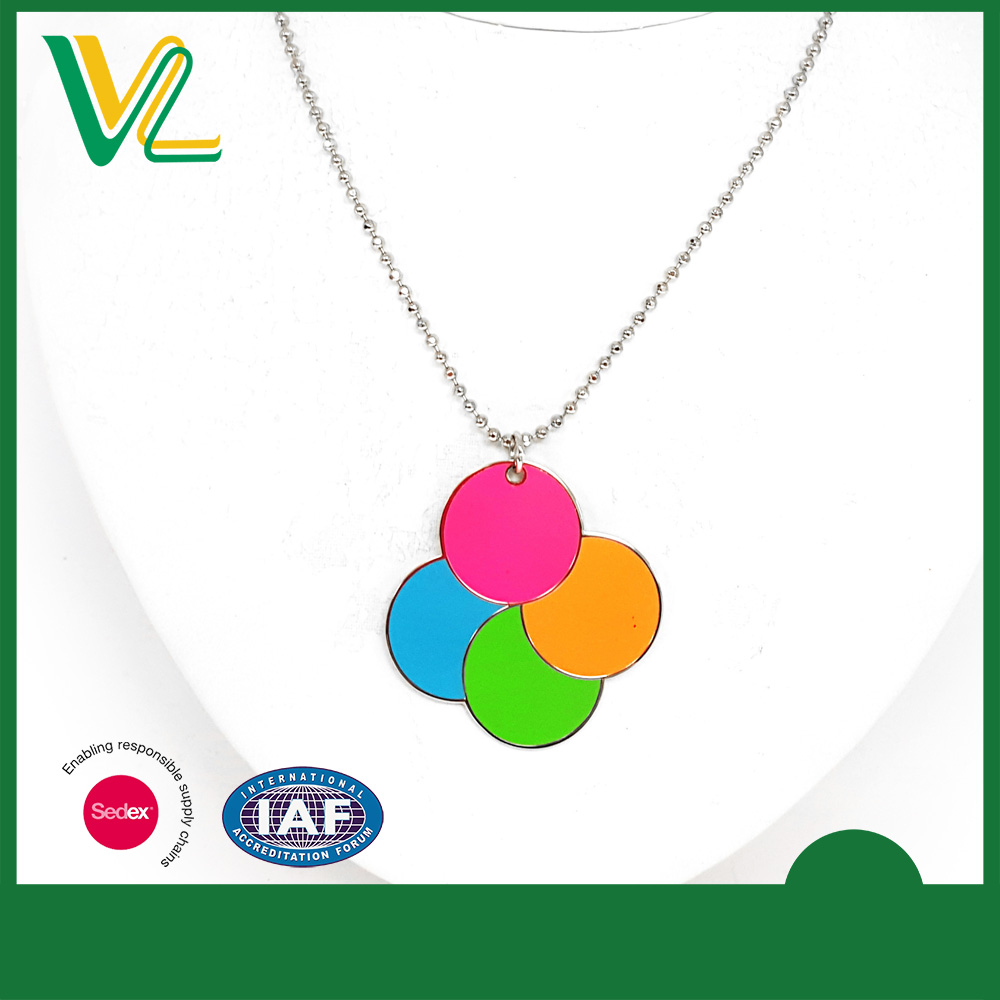 Factory New Zinc Alloy fluorescent color Round Imitation Sharp Jewelry Necklaces for kid