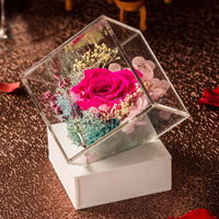 Clear acrylic cube flower box for home decoration or wedding, perspex decorative box for gifts