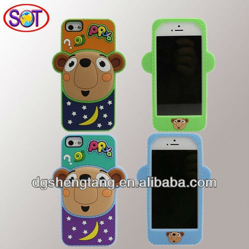 New design animal silicone cell phone cases for iPhone 4s 5s