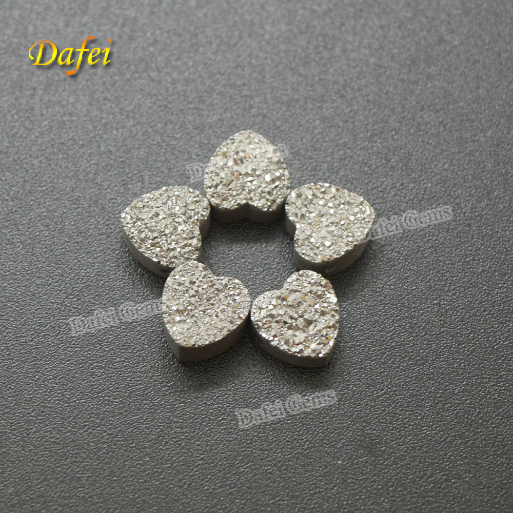 Wholesale Heart Natural Silver Druzy Stone For Jewelry Making