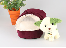 Wholesale winter cute soft plush heated slipper pet bed for dogs