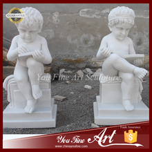 Hand Carved Nude Children reading Marble Statue