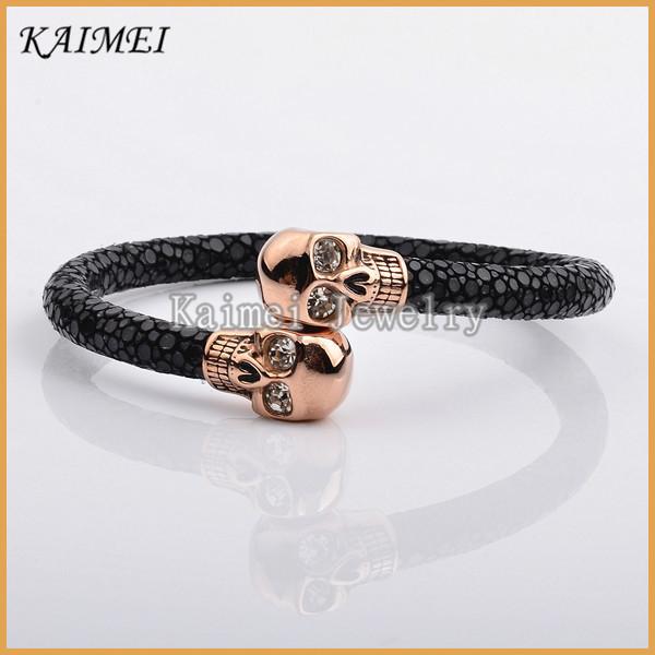 China Jewelry Factory Customized 100% Real Stingray Leather Skull Rose Gold Bracelet Bangle