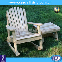 Outdoor Wooden Adirondack Rocker with Side Table