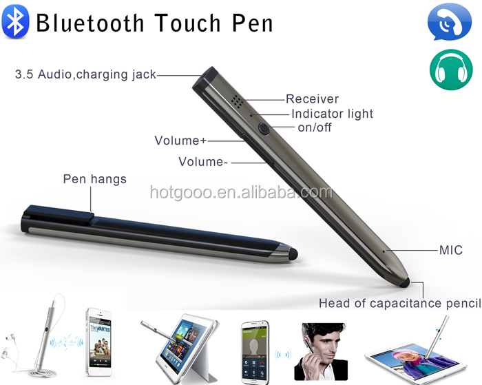 answer calls Wireless Bluetooth Headset Earphone Touch music pen 3 in 1 pen