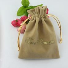 Promotional light yellow gift packaging gold velvet bag for jewelry