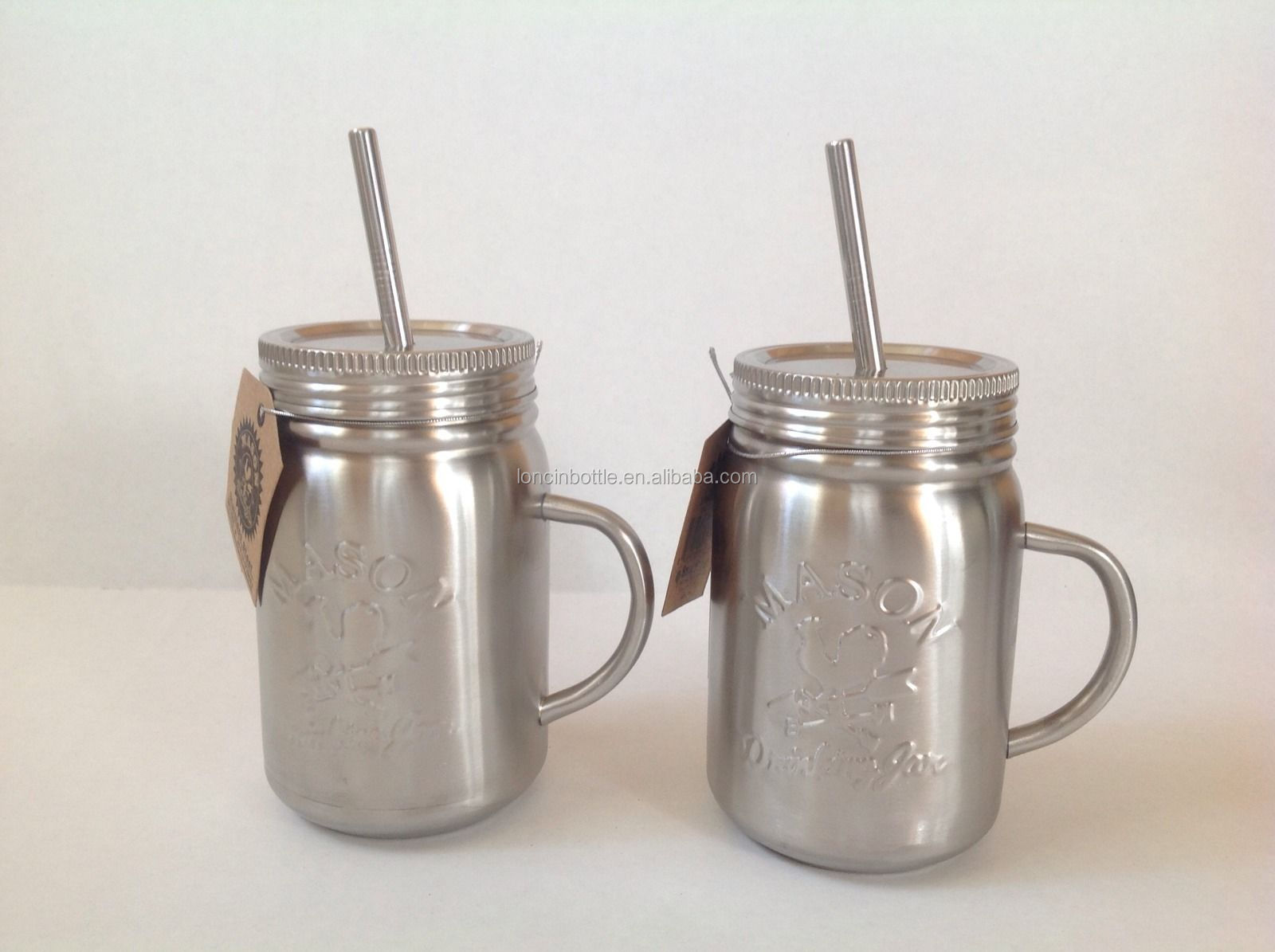 Mason Drinking Jar With Handle Amp Straw Stainless Steel
