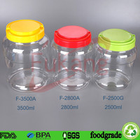 large cylindrical PET flat plastic candy food storage containers china manufacturer