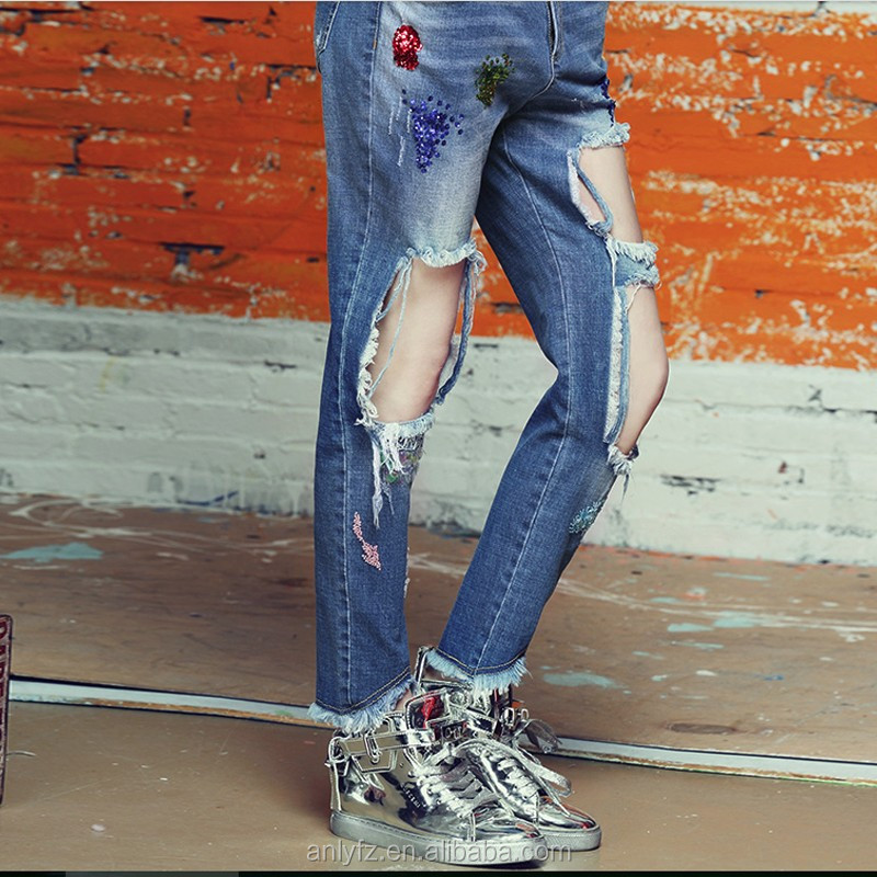 Fashion New Style sex jeans pants with hole broken wash Factory women 2016
