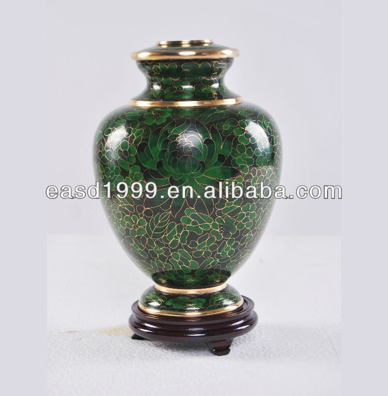 Wholesale P887 China Forest Green Floral Adult Metal Cloisonne Cremation Funeral Urns Jar for Ashes