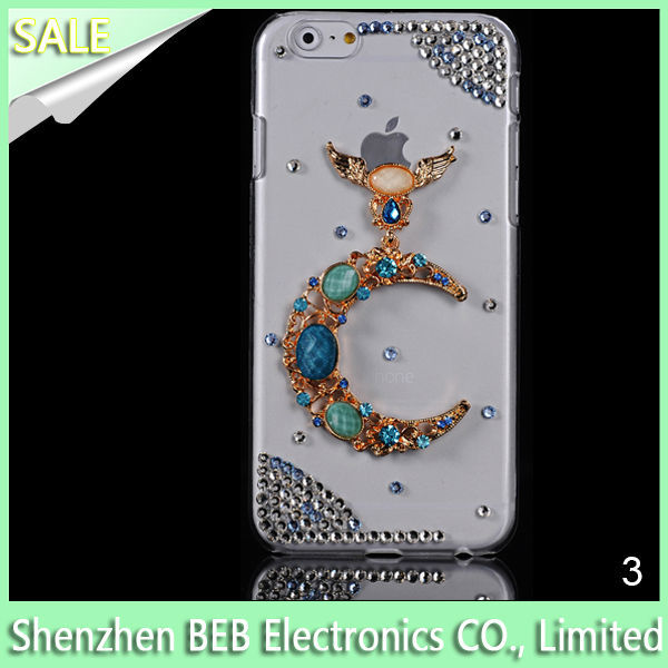 Cell phone accessories Roses Diamond jewelry rhinestone bling phone case for iphone 6 jewelry cases