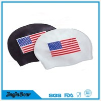 Novelty national flag printing swimming caps, adult funny silicone ear protection swimming cap