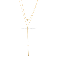 Fashion Women Dainty Custom Two Rows Long Square Simple 18K Gold Metal Models Bar Layered Pendant Necklace Chain 2017
