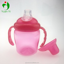 Colorful Soft Silicone Nipple PP Baby Training sippy Cups with handle