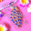 For iPhone 5 diamond case with transprent backside / useful famous peacock cover for iPhone 5 5S diamond bling case